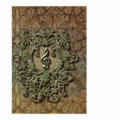 Elegant Clef With Floral Elements On A Background With Damasks Small Garden Flag (Two Sides)
