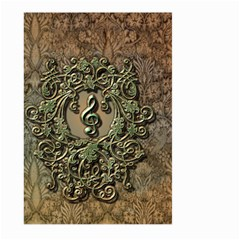 Elegant Clef With Floral Elements On A Background With Damasks Large Garden Flag (Two Sides)