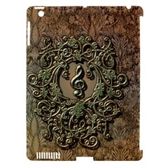 Elegant Clef With Floral Elements On A Background With Damasks Apple iPad 3/4 Hardshell Case (Compatible with Smart Cover)