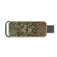 Elegant Clef With Floral Elements On A Background With Damasks Portable USB Flash (Two Sides)