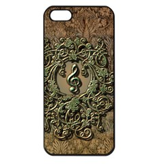 Elegant Clef With Floral Elements On A Background With Damasks Apple iPhone 5 Seamless Case (Black)