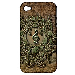Elegant Clef With Floral Elements On A Background With Damasks Apple iPhone 4/4S Hardshell Case (PC+Silicone)