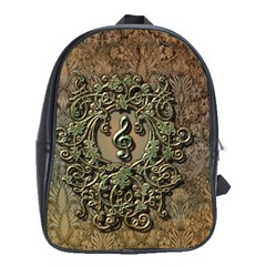 Elegant Clef With Floral Elements On A Background With Damasks School Bags (XL)
