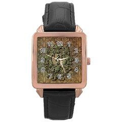 Elegant Clef With Floral Elements On A Background With Damasks Rose Gold Watches