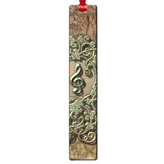 Elegant Clef With Floral Elements On A Background With Damasks Large Book Marks