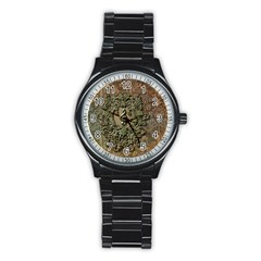 Elegant Clef With Floral Elements On A Background With Damasks Stainless Steel Round Watches