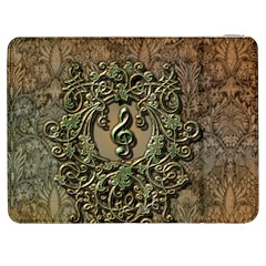 Elegant Clef With Floral Elements On A Background With Damasks Samsung Galaxy Tab 7  P1000 Flip Case
