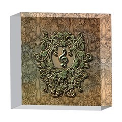 Elegant Clef With Floral Elements On A Background With Damasks 5  x 5  Acrylic Photo Blocks