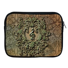 Elegant Clef With Floral Elements On A Background With Damasks Apple iPad 2/3/4 Zipper Cases
