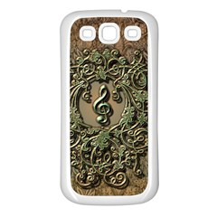 Elegant Clef With Floral Elements On A Background With Damasks Samsung Galaxy S3 Back Case (White)