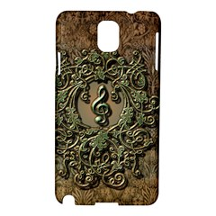 Elegant Clef With Floral Elements On A Background With Damasks Samsung Galaxy Note 3 N9005 Hardshell Case