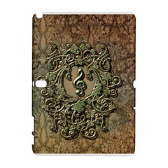 Elegant Clef With Floral Elements On A Background With Damasks Samsung Galaxy Note 10.1 (P600) Hardshell Case