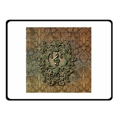 Elegant Clef With Floral Elements On A Background With Damasks Double Sided Fleece Blanket (Small)