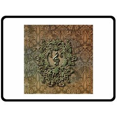 Elegant Clef With Floral Elements On A Background With Damasks Double Sided Fleece Blanket (Large)