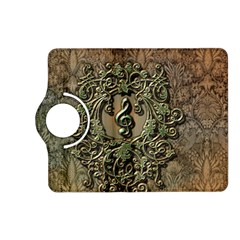 Elegant Clef With Floral Elements On A Background With Damasks Kindle Fire HD (2013) Flip 360 Case