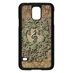 Elegant Clef With Floral Elements On A Background With Damasks Samsung Galaxy S5 Case (Black)