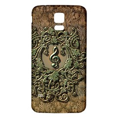 Elegant Clef With Floral Elements On A Background With Damasks Samsung Galaxy S5 Back Case (White)