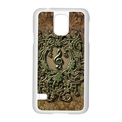 Elegant Clef With Floral Elements On A Background With Damasks Samsung Galaxy S5 Case (White)