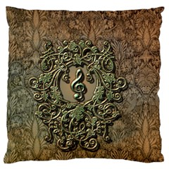 Elegant Clef With Floral Elements On A Background With Damasks Large Flano Cushion Cases (One Side)