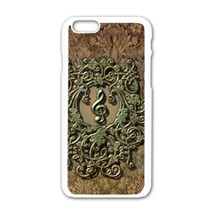 Elegant Clef With Floral Elements On A Background With Damasks Apple iPhone 6 White Enamel Case