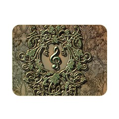 Elegant Clef With Floral Elements On A Background With Damasks Double Sided Flano Blanket (Mini)