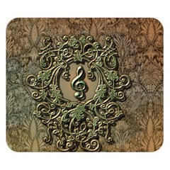 Elegant Clef With Floral Elements On A Background With Damasks Double Sided Flano Blanket (Small)