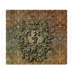 Elegant Clef With Floral Elements On A Background With Damasks Double Sided Flano Blanket (medium)