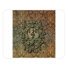 Elegant Clef With Floral Elements On A Background With Damasks Double Sided Flano Blanket (Large)