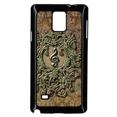 Elegant Clef With Floral Elements On A Background With Damasks Samsung Galaxy Note 4 Case (Black)