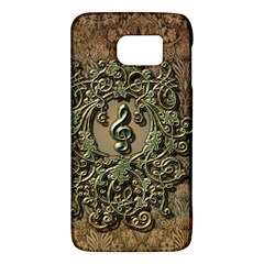 Elegant Clef With Floral Elements On A Background With Damasks Galaxy S6