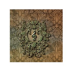 Elegant Clef With Floral Elements On A Background With Damasks Small Satin Scarf (square)