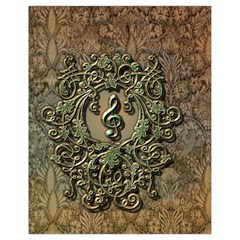 Elegant Clef With Floral Elements On A Background With Damasks Drawstring Bag (Small)