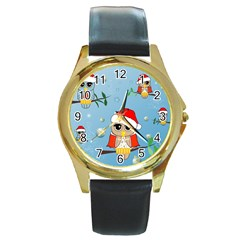 Funny, Cute Christmas Owls With Snowflakes Round Gold Metal Watches