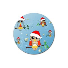 Funny, Cute Christmas Owls With Snowflakes Magnet 3  (Round)