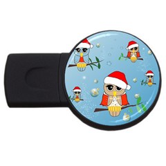 Funny, Cute Christmas Owls With Snowflakes USB Flash Drive Round (1 GB)