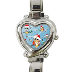 Funny, Cute Christmas Owls With Snowflakes Heart Italian Charm Watch