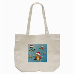 Funny, Cute Christmas Owls With Snowflakes Tote Bag (Cream)