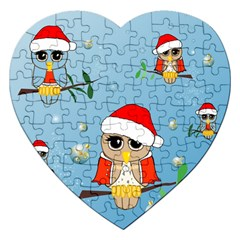 Funny, Cute Christmas Owls With Snowflakes Jigsaw Puzzle (Heart)
