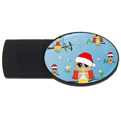 Funny, Cute Christmas Owls With Snowflakes USB Flash Drive Oval (4 GB)