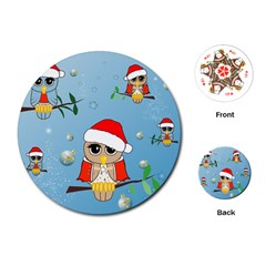 Funny, Cute Christmas Owls With Snowflakes Playing Cards (Round)