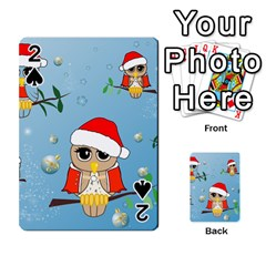 Funny, Cute Christmas Owls With Snowflakes Playing Cards 54 Designs