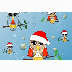 Funny, Cute Christmas Owls With Snowflakes Collage 12  X 18