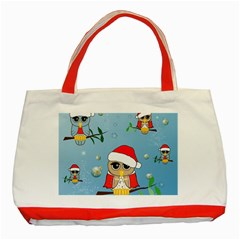 Funny, Cute Christmas Owls With Snowflakes Classic Tote Bag (Red)