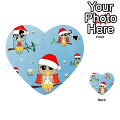 Funny, Cute Christmas Owls With Snowflakes Playing Cards 54 (Heart)