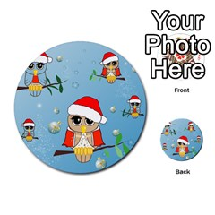 Funny, Cute Christmas Owls With Snowflakes Multi Purpose Cards (round)