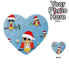 Funny, Cute Christmas Owls With Snowflakes Multi-purpose Cards (Heart)