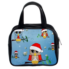 Funny, Cute Christmas Owls With Snowflakes Classic Handbags (2 Sides)