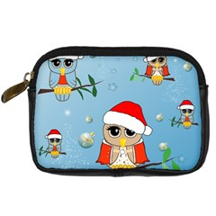 Funny, Cute Christmas Owls With Snowflakes Digital Camera Cases