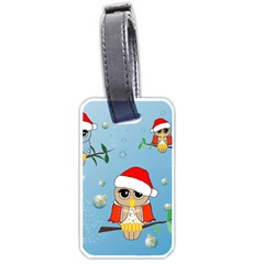 Funny, Cute Christmas Owls With Snowflakes Luggage Tags (Two Sides)