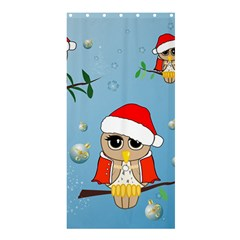 Funny, Cute Christmas Owls With Snowflakes Shower Curtain 36  x 72  (Stall)